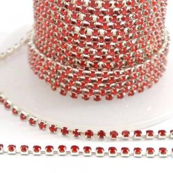 Стразовая цепочка, красный хрусталь, серебряный