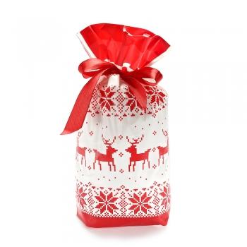 Пакет для подарунків білий з орнаментом