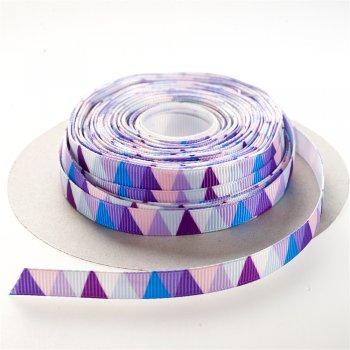 Стрічка репсова 10 мм фіолетова з трикутним  візерунком