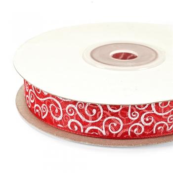 Лента из органзы 15 мм красная с орнаментом