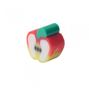 Намистина з полімерної глини Яблуко жовто-червоне 10 мм