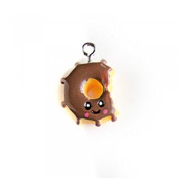 Пончик шоколадный. Подвески из полимерной глины микс цветов сладости