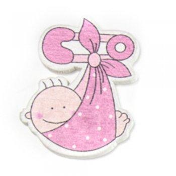 Ребенок в пеленке розовый. Деревянные клеевые элементы