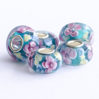 Намистини шарм скляні сині квітковий візерунок 13 мм