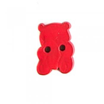 Гудзик дерев'яний Ведмідь червоний 14х19 мм