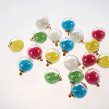 Колбы-подвески для браслетов с цветными шариками внутри 16 мм