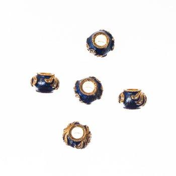 Металлическая бусина  шарм с эмалью желто-синий