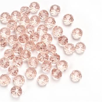 Кришталева намистина рондель 10 мм рожева райдужна