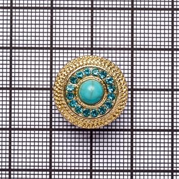Намистина кнопка SNAP з бірюзовим каменем