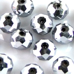 Кришталева намистина рондель 10 мм срібляста металік