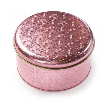 Коробочка жерстяна 13.6х7.4 см голограмна рожева