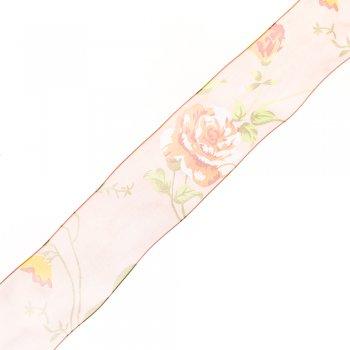 Лента из органзы 4 см узор цветок
