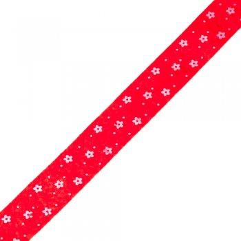 Стрічка фетрова в квіточки 25 мм червона
