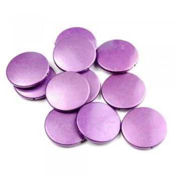 Пластик светорефлекторный фиолетовый. Бусина круглая плоская