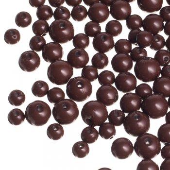 Пластиковая бусина, коричневая, 12 мм