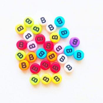 Пластиковая бусина-буква B