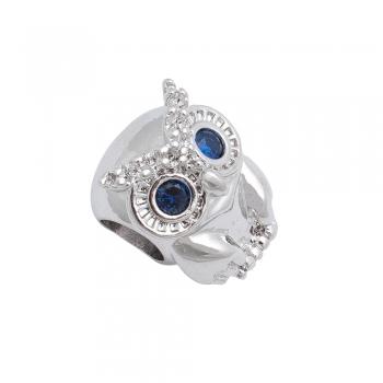 Металлическая бусина Шарм LUX Сова с синими глазами