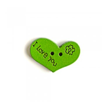 Сердце, пуговица деревянная, зеленая, 14х21 мм