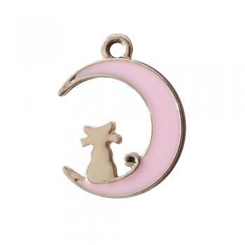 Металева підвіска з емаллю Кіт на місяці рожева