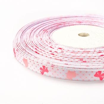 Стрічка репсова 10 мм біла з сердечками