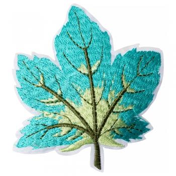 Тканинна нашивка Осінній лист бірюзовий
