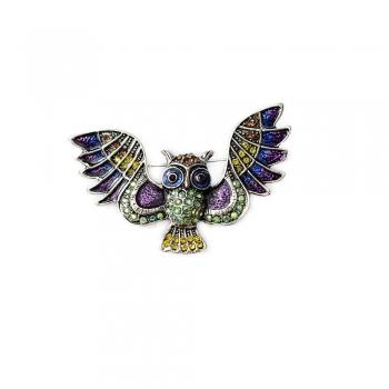 Брошка Сова з розкритими крилами