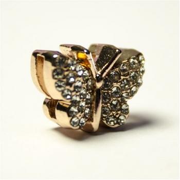 Бусина слайдер Метелик рожеве золото