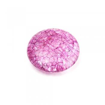 Пластик с кракелюром. Фиолетовый. Бусина большая круглая плоская.