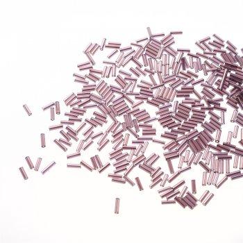 Бісер-стеклярус. Темно-бузковий. Довжина 7 мм, діаметр 2 мм