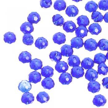 Намистина кругла сплюснута, яскраво-синя, кришталь, 8 мм