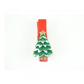 Прищіпка дерев'яна з декором з полімерної глини Ялинка в снігу