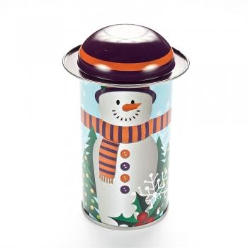 Коробочка жестяная 11,6х5,4 см снеговик с оранжевым шарфом