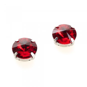 Стразы стеклянные в металлической оправе. Красный. Диаметр 14 мм.
