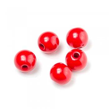 Пластиковая бусина, красная, 15 мм
