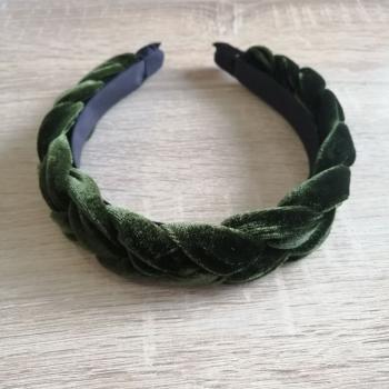 Обруч с бархатным покрытием косичка