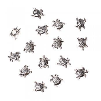 Металева намистина шарм мельхіор черепаха