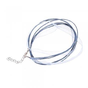Основа для кулона Чотири бавовняні шнури і сіра стрічка з органзи