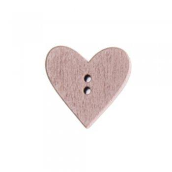 Сердце маленькое, деревянная пуговица, коричнево-бежевая, 19х19 мм
