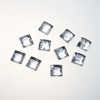 Стразы пластиковые пришивные. Прозрачный. Длина 10 мм, ширина 10 мм.
