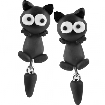 Серьги (пара) Котик черный