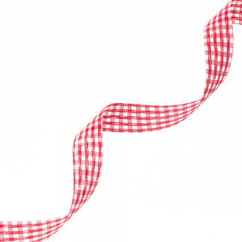 Стрічка поліестерова з візерунком 1,5 см червоний білий