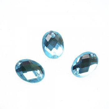 Стразы стеклянные пришивные. Голубой. Длина 13 мм.