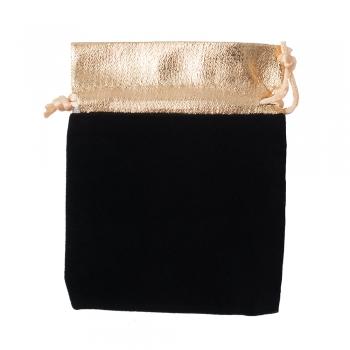 Декоративний мішечок оксамитовий чорно-золотий