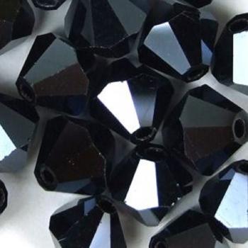 Кришталева намистина біконус 8 мм гематитова
