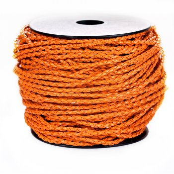Шнур-косичка оранжевый кожзаменитель 5 мм