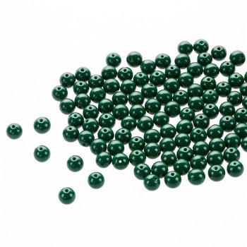 Намистина скляна 8 мм темно-зелена
