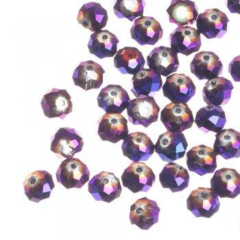 Кришталева намистина рондель 10 мм фіолетова бензолова