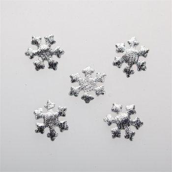 Текстильные дутые элементы серебро снежинка 25 мм