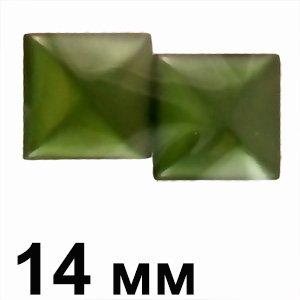 Пластикові кабошони зелений опуклий квадрат 14 мм