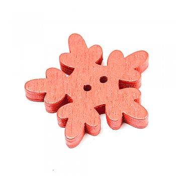 Сніж мікс червоні великі ґудзики дерев'яні